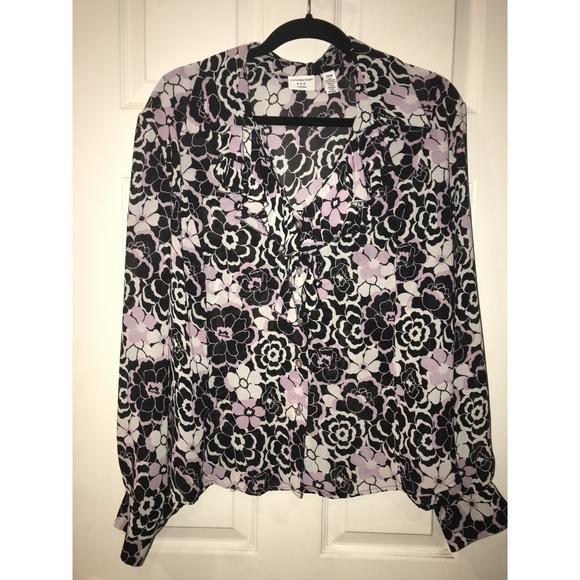 Covington Tops - Romantic Purple and Black Roses